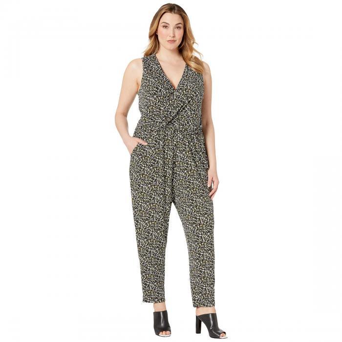 MICHAEL MICHAEL KORS レディースファッション レディース 【 Plus Size Camo Twist Waist Jumpsuit 】 Black/ivy