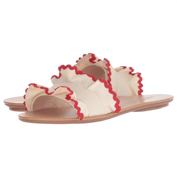 【スーパーセール商品 12/4-12/11】LOEFFLER RANDALL サンダル 【 SLIDE BIRDIE RUFFLE SANDAL NATURAL CANVAS RED 】 送料無料