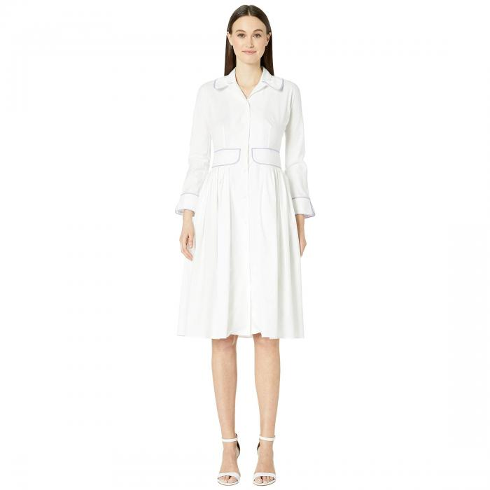ZAC POSEN 【 COTTON POPLIN DRESS WHITE LILAC 】 レディースファッション ドレス 送料無料