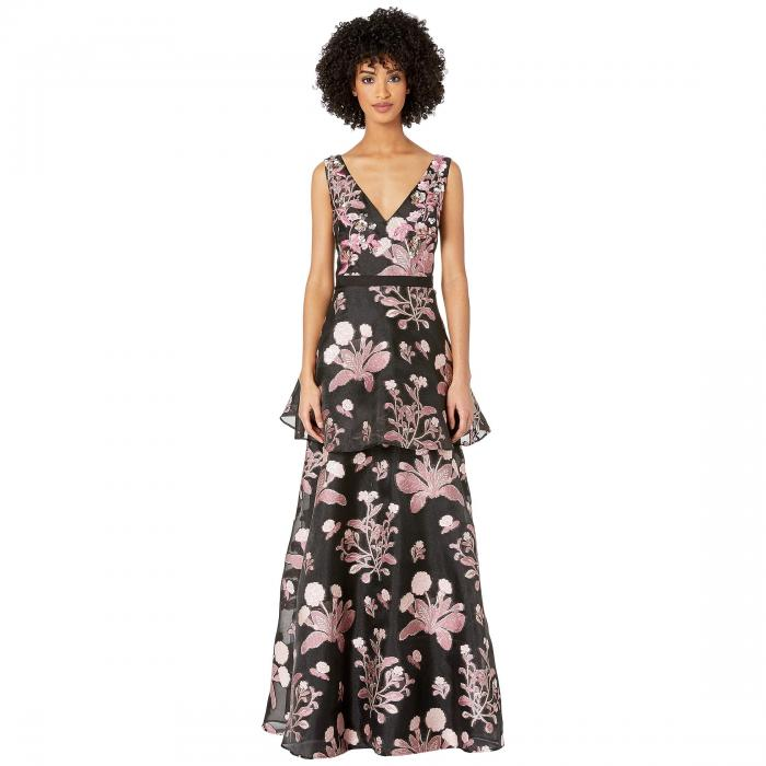 MARCHESA NOTTE ノンスリーブ ブイネック 【 SLEEVELESS VNECK FLORAL 3D BEADED EMBROIDERED FILS COUPE TIERED GOWN BLACK 】 レディースファッション ドレス 送料無料