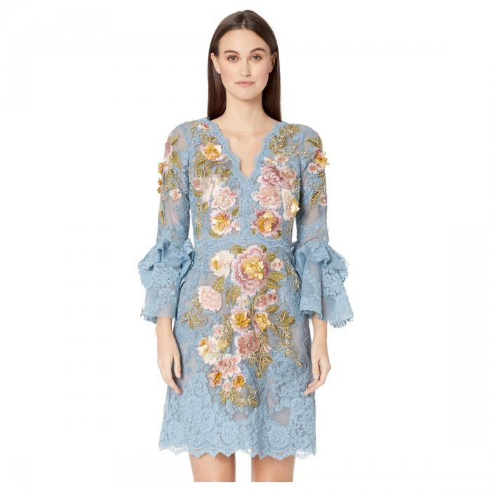MARCHESA ドレス 【 ALINE COCKTAIL DRESS WITH MULTICOLOR 3D FLOWERS EMBROIDERY DUSTY BLUE 】 レディースファッション 送料無料