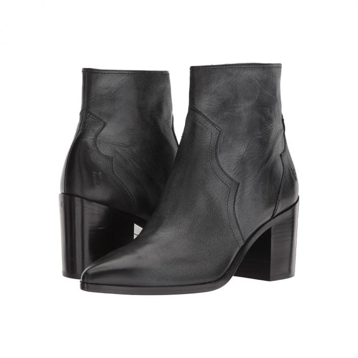 FRYE レディース 【 Flynn Short Inside Zip 】 Black Polished Soft Full Grain Leather