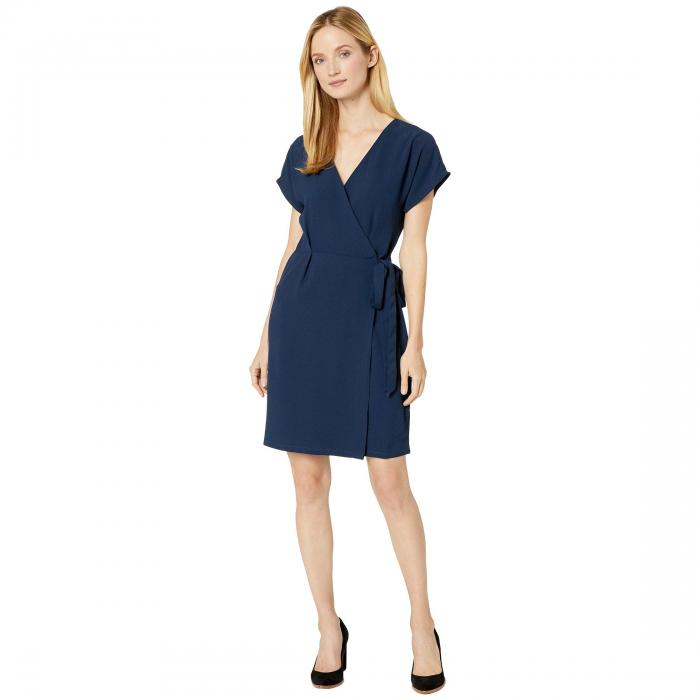 BOBEAU スリーブ ラップ ドレス 紺 ネイビー 【 SLEEVE WRAP NAVY BOBEAU SHORT DRESS 】 レディースファッション ドレス