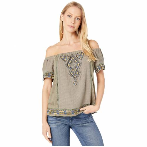 MISS ME オリーブ 緑 グリーン 【 OLIVE GREEN MISS ME OFF THE SHOULDER AZTEC EMBROIDERED TOP 】 レディースファッション トップス