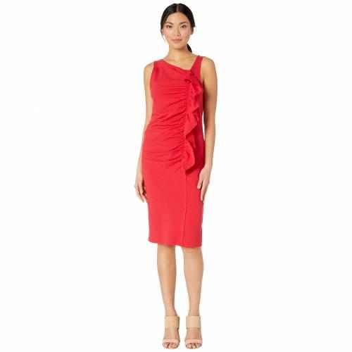 BOBEAU ドレス レディースファッション ワンピース レディース 【 French Terry Ruffle Front Dress 】 Red Tomato