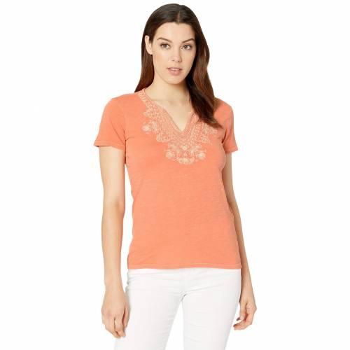 LUCKY BRAND スリーブ ブイネック Tシャツ レディースファッション トップス レディース 【 Short Sleeve Embroidered V-neck Tee 】 Persimmon