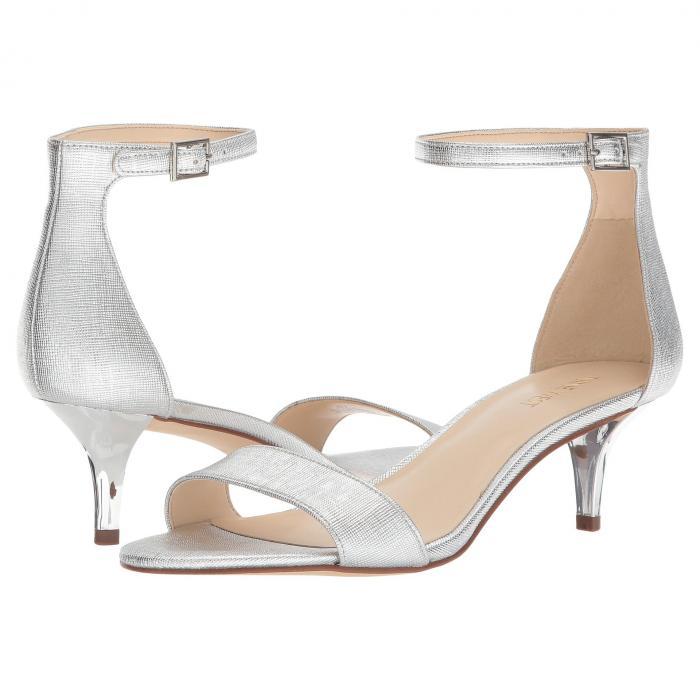 NINE WEST レディース 【 Leisa Heel Sandal 】 Silver Etched Metallic Pu