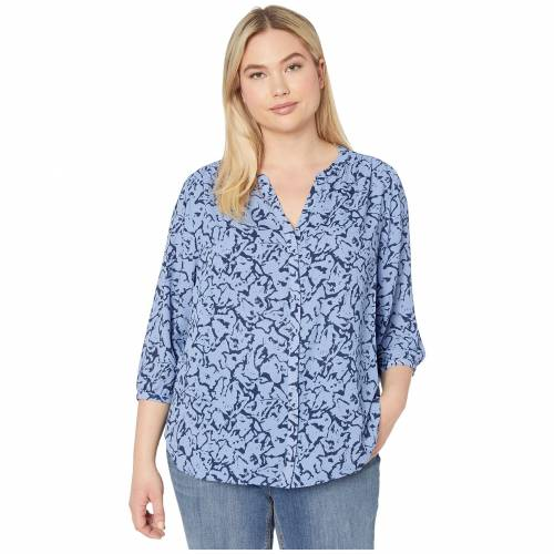 NYDJ PLUS SIZE 【 NYDJ PLUS SIZE PINTUCK BLOUSE MOUNTAIN VIEW ABSTRACT 】 レディースファッション トップス シャツ ブラウス