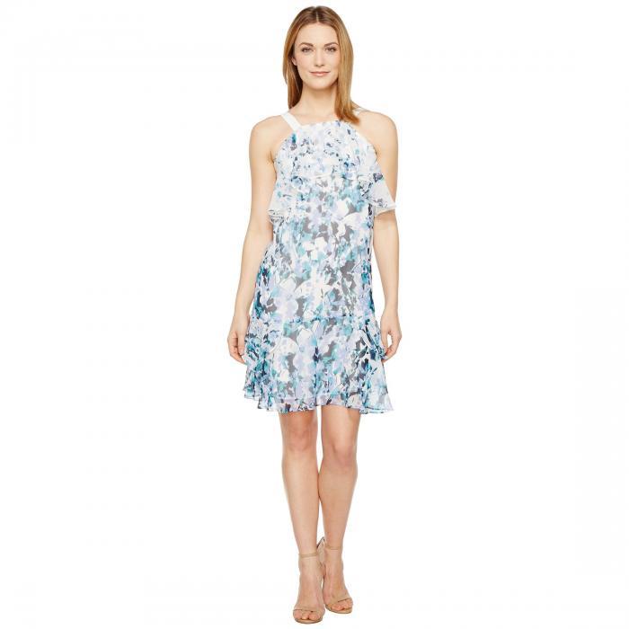 アドリアナパペル ADRIANNA PAPELL カスケード ノンスリーブ ドレス レディースファッション ワンピース レディース 【 Floral Cascade Printed Chiffon Tiered Sleeveless Shift Dress 】 Blue Multi