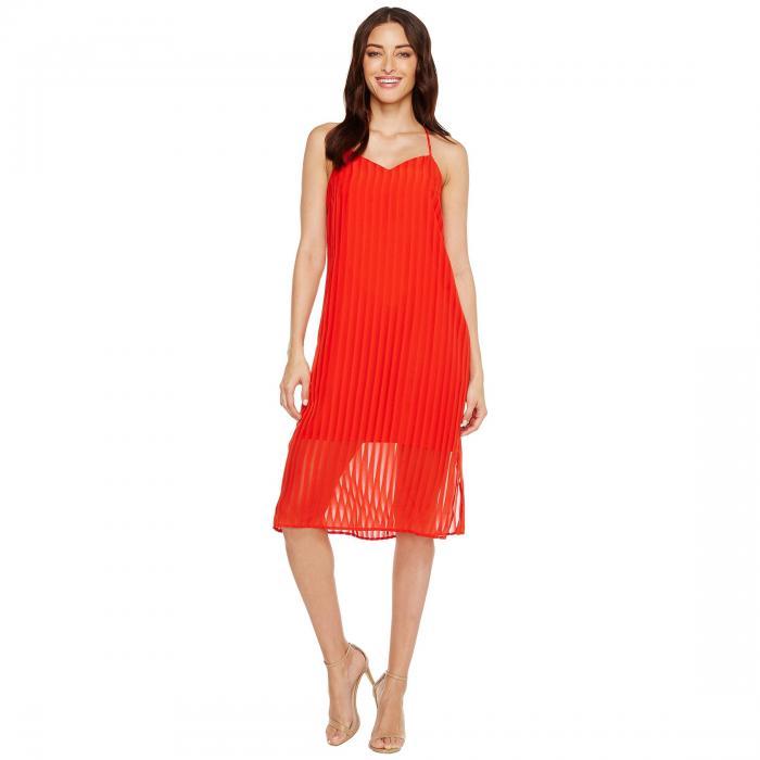 CECE レディースファッション ワンピース レディース 【 Lacey - Striped Chiffon 】 Fiery Red