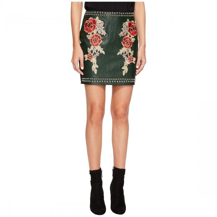 【海外限定】レディースファッション スカート 【 STUDDED EMBROIDERED PU MINI SKIRT 】【送料無料】