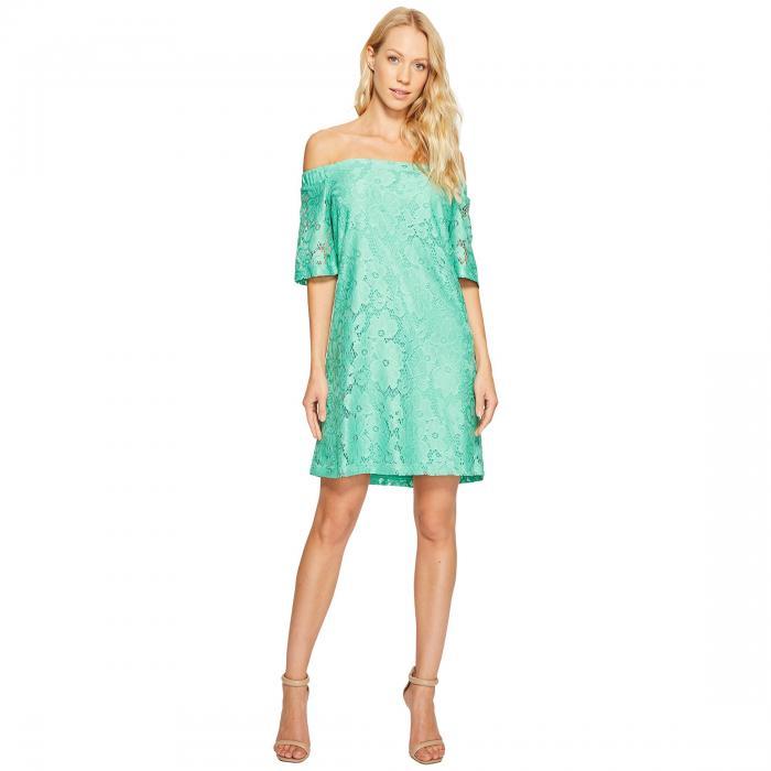 ドナモーガン DONNA MORGAN スリーブ ニット ドレス レディースファッション ワンピース レディース 【 Off The Shoulder Short Sleeve Knit Lace Shift Dress 】 Field Green