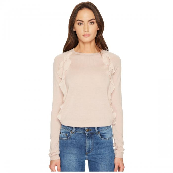 RED VALENTINO 赤 レッド & 【 RED VALENTINO WOOL YARN FABRIC ROUCHES TOP NUDE 】 レディースファッション トップス Tシャツ カットソー