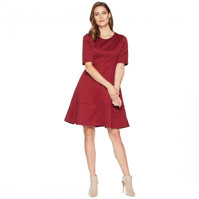 LONDON TIMES スリーブ ドレス レディースファッション ワンピース レディース 【 Jacquard Elbow Sleeve Fit And Flare Dress 】 Wine
