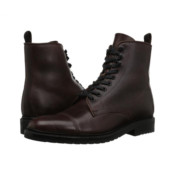 FRYE スムース 【 OFFICER LACEUP BROWN SMOOTH PULL UP SCOTCH GRAIN 】 メンズ ブーツ 送料無料