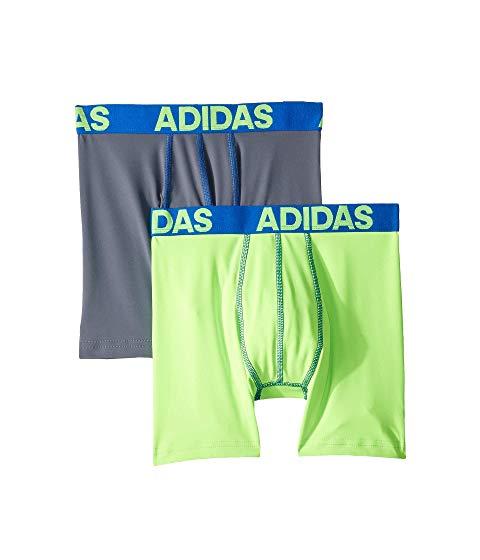 アディダスキッズ ADIDAS KIDS パフォーマンス キッズ ベビー マタニティ 下着 パジャマ ジュニア 【 Sport Performance Climalite 2-pack Boxer Brief (big Kids) 】 Solar Green/blue Onix/blue