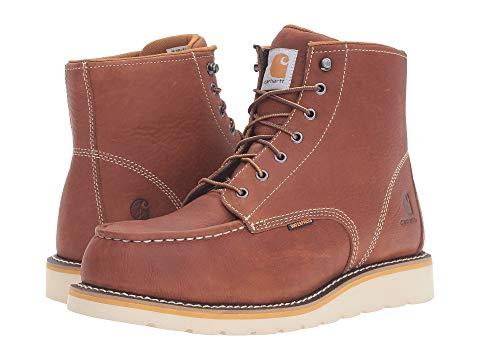 """【★スーパーセール中★ 6/11深夜2時迄】カーハート CARHARTT 銀色 スチール ブーツ 6"""" メンズ 【 6"""" Steel Toe Waterproof Wedge Boot 】 Tan Oil Tanned Leather"""