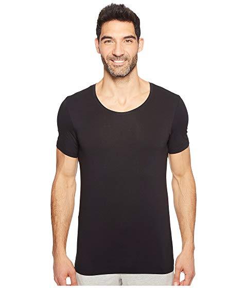【スーパーセール中! 6/11深夜2時迄】HANRO スリーブ メンズファッション トップス Tシャツ カットソー メンズ 【 Cotton Superior Short Sleeve Crew Neck Shirt 】 Black