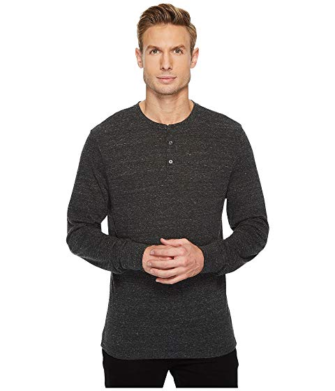THREADS 4 THOUGHT ヘンリー ヘザー 黒 ブラック 【 HEATHER BLACK THREADS 4 THOUGHT TRIBLEND LONG SLEEVED HENLEY 】 メンズファッション トップス Tシャツ カットソー