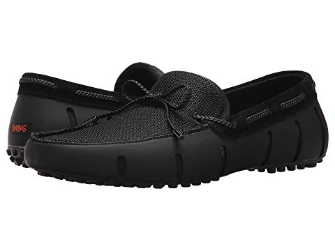 SWIMS メンズ ローファー 【 Braided Lace Loafer Driver 】 Black/graphite