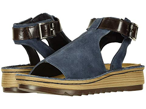 NAOT レディース 【 Verbena 】 Midnight Blue Suede/walnut Leather