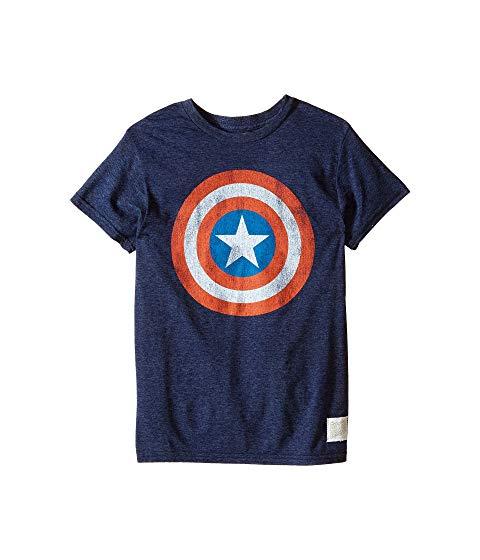 THE ORIGINAL RETRO BRAND KIDS Tシャツ キッズ ベビー マタニティ トップス ジュニア 【 Captain America Tri-blend Tee (little Kids/big Kids) 】 Streaky Navy