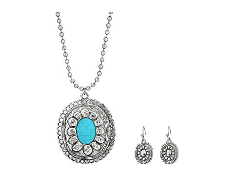 M&F WESTERN ジュエリー アクセサリー レディースジュエリー レディース 【 Large Oval Concho W/ Turquoise Stone Necklace/earrings Set 】 Silver