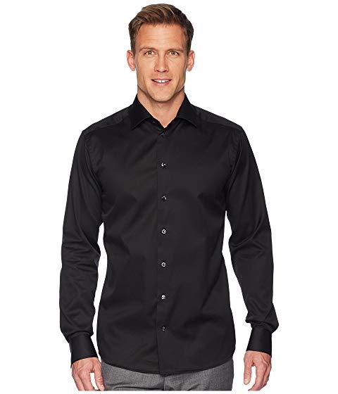 ETON スリム 黒 ブラック 【 SLIM BLACK ETON FIT TWILL SHIRT 】 メンズファッション トップス カジュアルシャツ