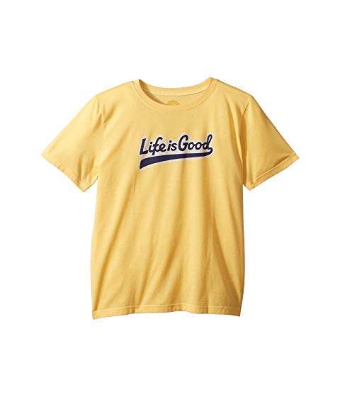 LIFE IS GOOD KIDS スクリプト クール Tシャツ 【 BALLYARD SCRIPT COOL TSHIRT LITTLE BIG BAJA YELLOW 】 キッズ ベビー マタニティ トップス 送料無料