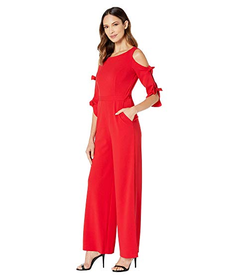ドナモーガン DONNA MORGAN スリーブ レディースファッション オールインワン サロペット レディース 【 Long Tie Sleeve Wide Leg Jumpsuit 】 Red/red