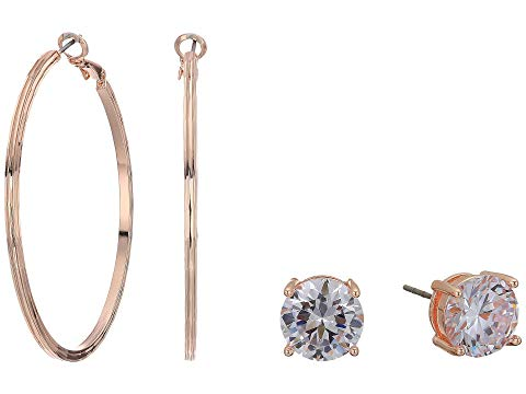 GUESS フープ ローズ 金色 ゴールド 【 ROSE GUESS 8 MM HOOP WITH ROUND CZ STUD DUO EARRINGS SET GOLD 】 ジュエリー アクセサリー