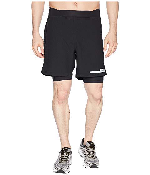 """ツータイムズユー 2XU ラン コンプレッション 7"""" 【 RUN 2IN1 COMPRESSION SHORTS BLACK SILVER 】 メンズファッション ズボン パンツ 送料無料"""
