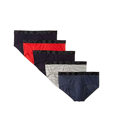 JOCKEY インナー 下着 ナイトウエア メンズ 【 Active Blend Brief 5-pack 】 Blue/stripe/blue/red/navy Heather