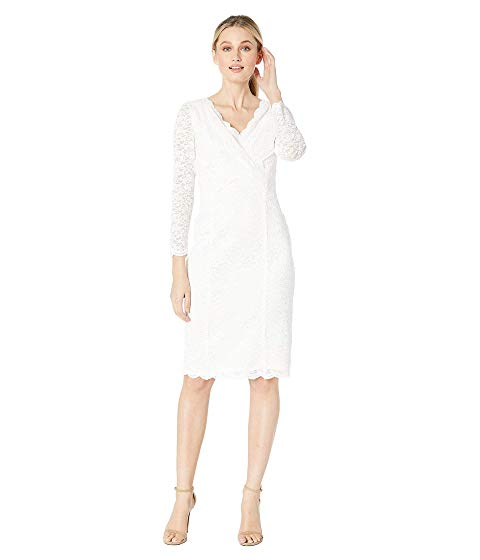 【NeaYearSALE1/1-1/5】TAHARI BY ASL スリーブ 【 SLEEVE LONG STRETCH SPARKLE LACE SHEATH WITH VNECKLINE IVORY 】 レディースファッション ワンピース 送料無料