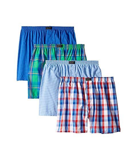 JOCKEY ウーブン インナー 下着 ナイトウエア メンズ 【 Active Blend Woven Boxer 4-pack 】 Bold Plaid/stripe Blue/check/stripe
