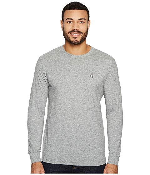 PSYCHO BUNNY スリーブ Tシャツ メンズファッション トップス カットソー メンズ 【 Crew Neck Long Sleeve T-shirt 】 Heather Grey