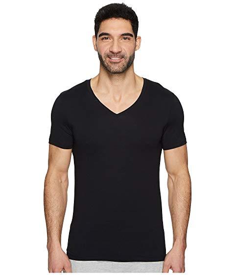 HANRO ブイネック 【 COTTON SUPERIOR VNECK SHIRT BLACK 】 メンズファッション トップス カジュアルシャツ 送料無料