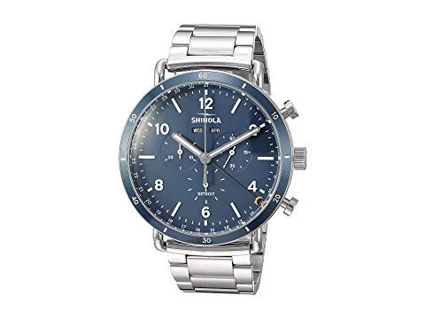 SHINOLA DETROIT デトロイト ステンレス 銀色 スチール ブレスレット 青 ブルー 【 BLUE SHINOLA DETROIT THE CANFIELD SPORT CHRONOGRAPH CALENDAR 45MM 20089890 POLISHED BRUSHED STAINLESS STEEL BRACELET MIDNIGHT DIAL 】 腕時