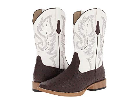 ROPER ブーツ メンズ 【 Ostrich Print Square Toe Cowboy Boot 】 Brown Faux Leather/western Stitch