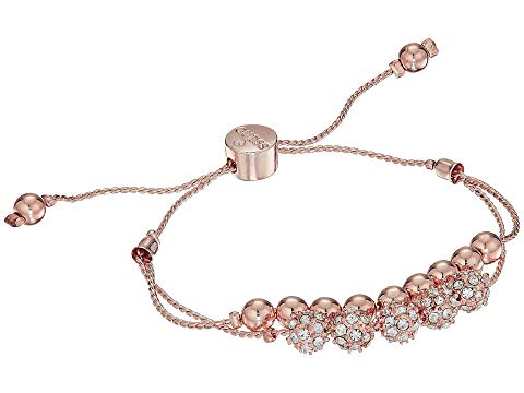 GUESS ブレスレット ローズ 金色 ゴールド 【 ROSE GUESS DOUBLE ROW ROUND BEAD AND FIREBALL SLIDER BRACELET GOLD CRYSTAL 】 ジュエリー アクセサリー