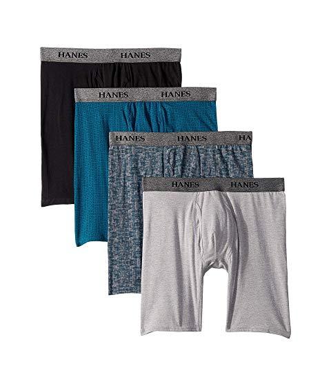 HANES インナー 下着 ナイトウエア メンズ 【 4-pack Stretch Long Leg Boxer Briefs 】 Assorted Black/blue
