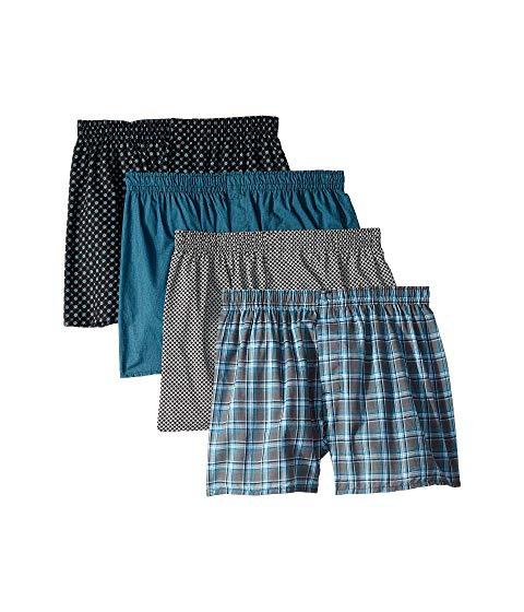 HANES コア インナー 下着 ナイトウエア メンズ 【 4-pack Core Cotton Plaid Boxers 】 Assorted 1