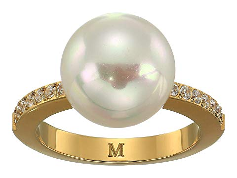 MAJORICA パール 黄色 イエロー 1.25mm ジュエリー アクセサリー レディース 【 12mm Round Pearl Yellow Plated Ring With 1.25mm Of Cz Accents 】 White