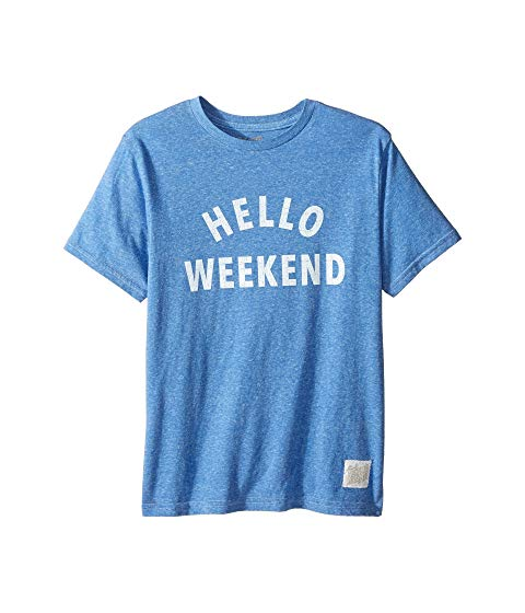 THE ORIGINAL RETRO BRAND KIDS 白 ホワイト スリーブ Tシャツ キッズ ベビー マタニティ トップス ジュニア 【 Hello Weekend White Print Short Sleeve Tee (big Kids) 】 Streaky Royal