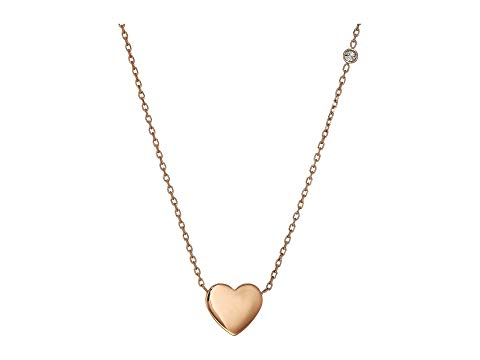 FOSSIL ネックレス ローズ 金色 ゴールド 【 ROSE FOSSIL ENGRAVEABLE HEART NECKLACE GOLD 】 ジュエリー アクセサリー