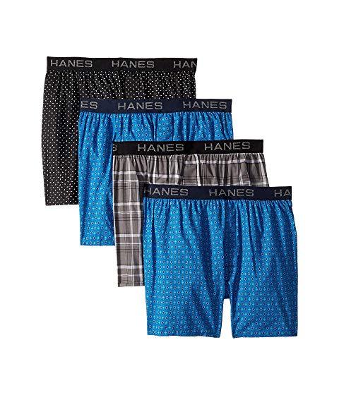 HANES コア インナー 下着 ナイトウエア メンズ 【 4-pack Core Cotton Plaid Boxers 】 Assorted