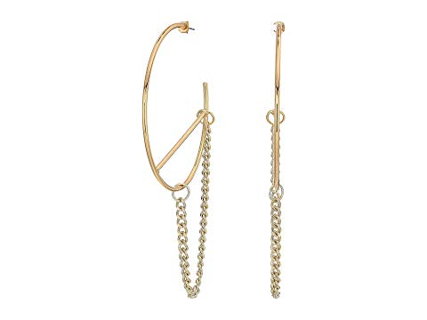 FRENCH CONNECTION フープ 【 LARGE HOOP WITH CHAIN EARRINGS GOLD 】 ジュエリー アクセサリー 送料無料