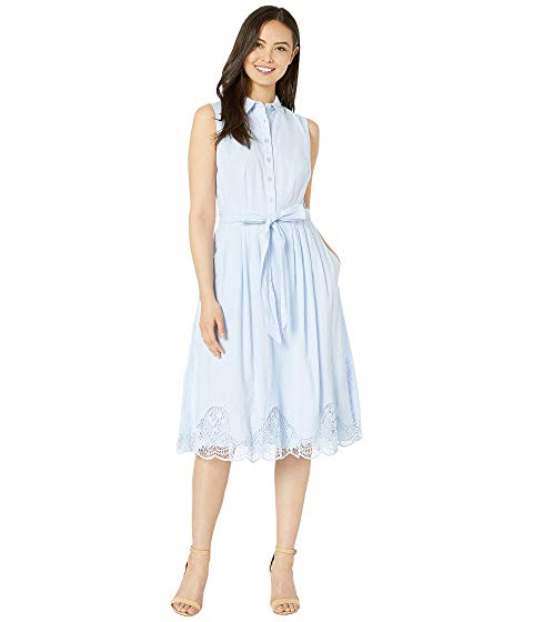 TAHARI BY ASL ノンスリーブ 青 ブルー 【 SLEEVELESS BLUE TAHARI BY ASL EMBROIDERED HEM SHIRTDRESS SERENITY 】 レディースファッション ドレス
