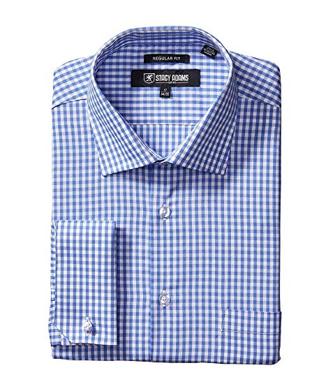 STACY ADAMS ドレス & 【 BIG TALL GINGHAM CHECK DRESS SHIRT BLUE 】 メンズファッション トップス カジュアルシャツ 送料無料