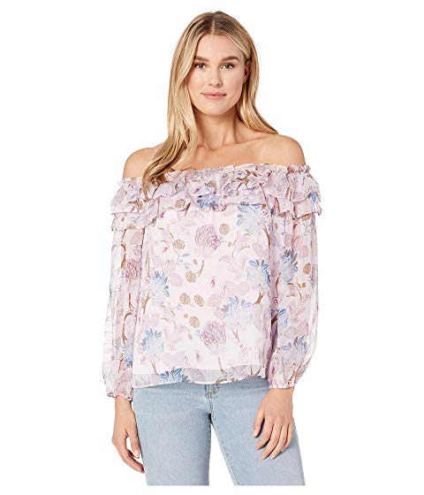 VINCE CAMUTO スリーブ ピンク 【 SLEEVE PINK LONG POETIC BLOOMS RUFFLED OFF SHOULDER BLOUSE SOFT HAZE 】 レディースファッション トップス 送料無料